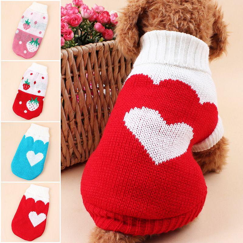 Собака Клубничный Одежда Pet зимней шерстяной свитер Трикотаж Puppy Одежда Теплая любовь сердца Высокий воротник пальто