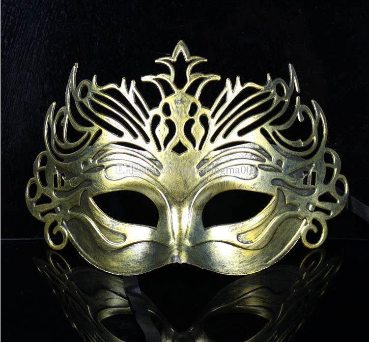 Lk /_ Homme Masque de Fête Vénitien Vintage Romain Argent or Masquerade Demi