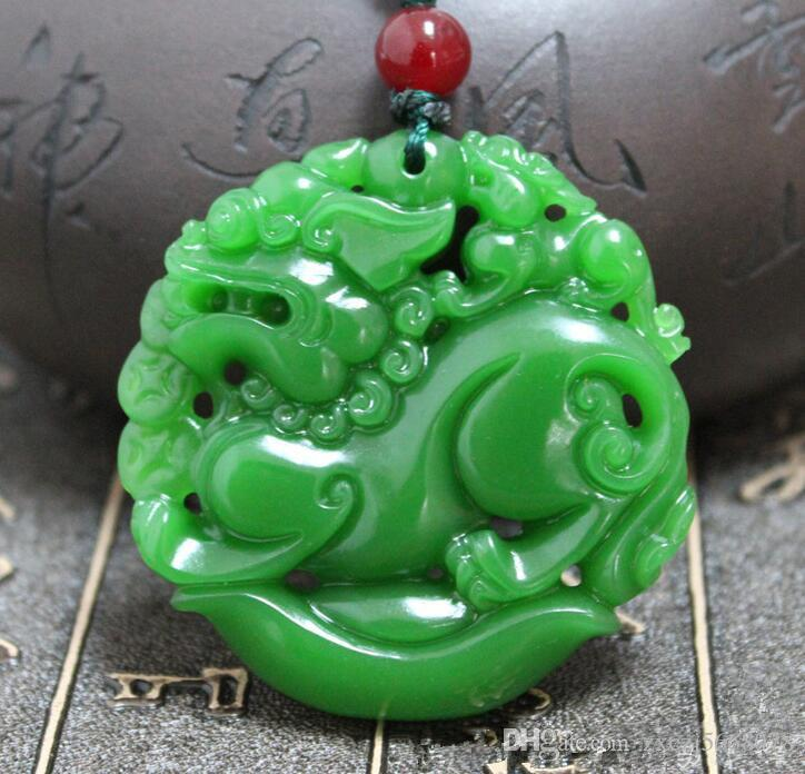 Green Jade Necklace god beast jade Pendant Rope Lucky Amulet Jewelry carving