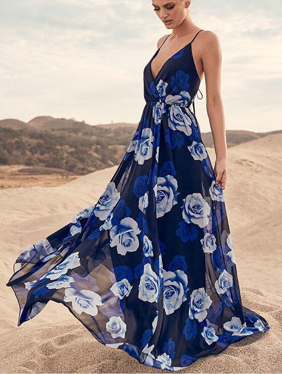 Fashion Flora Printing V Neck String High Waist Dresses Sleeveless Beach Long Women Dress