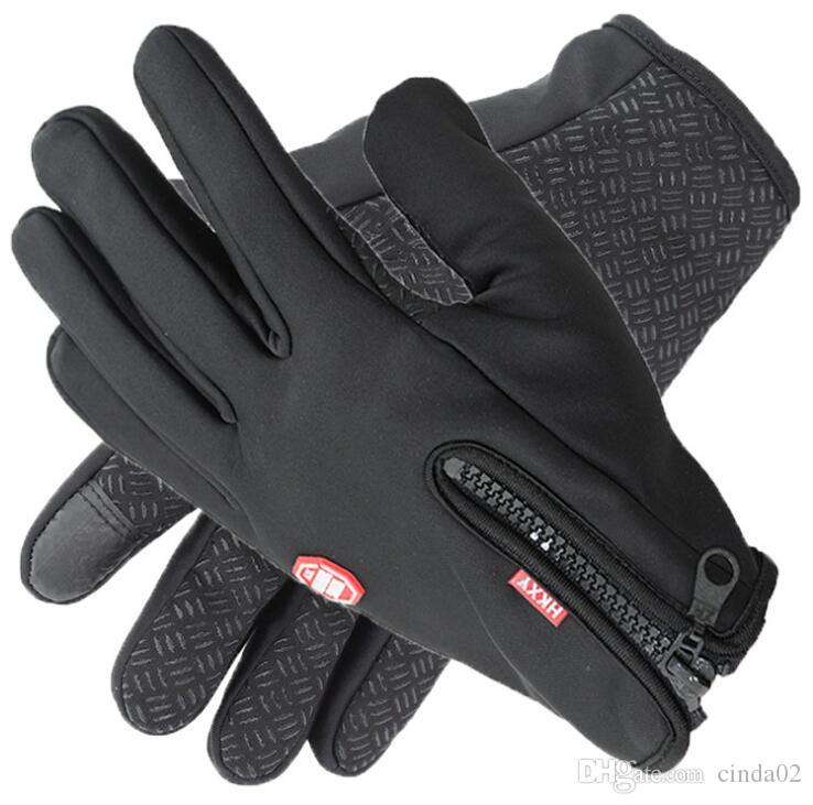 Windstopers Luvas Anti Slip Windproof Térmica Quente Tampão Luva Respirável Tacticos Inverno Homens Mulheres Black Zipper Luvas