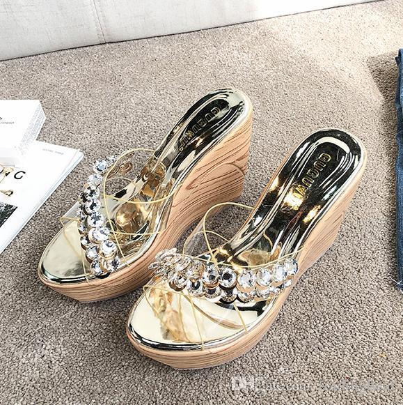 Luxo transparente PVC prata cunhas de cristal de ouro chinelos de designer sapatos de plataforma de salto alto tamanho do verão 34 a 39