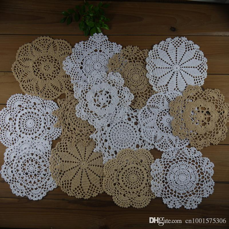 """lot of 14 Delicate design crocheted doilies for wedding 7""""-8""""-9"""" handmade coasters table mats for home, DIY doilies for dream catchers."""