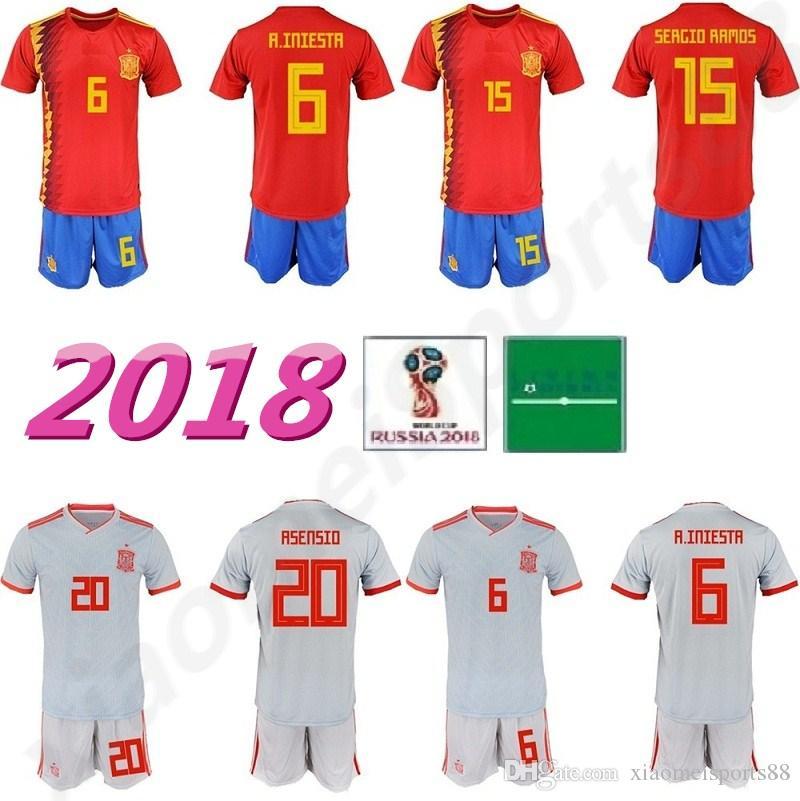스페인 2018 월드컵 키트 축구 유니폼 7 STERLING 3 PIQUE 6 A.INIESTA 20 ASENSIO 22 ISCO 15 RAMOS 축구 셔츠