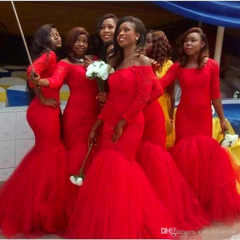 Hot South African Style Bridesmaid Dresses 2018 Lace Plus Size Mermaid Nigerian Maid Of Honor Gowns For Wedding Lace up Red Tulle