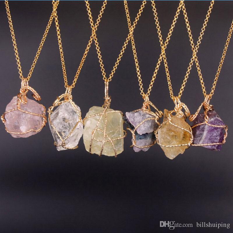 Sıcak satış Yeni Doğal Kristal Kuvars Şifa Noktası Çakra Boncuk Taş Kolye Kolye orijinal doğal taş tarzı Takı