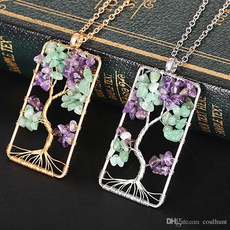 Natural Crushed Stone Rectangle Life Tree Crystal Money Tree Necklace Wire Wrapped Crystal Stone Necklace Natural Peridot Stone
