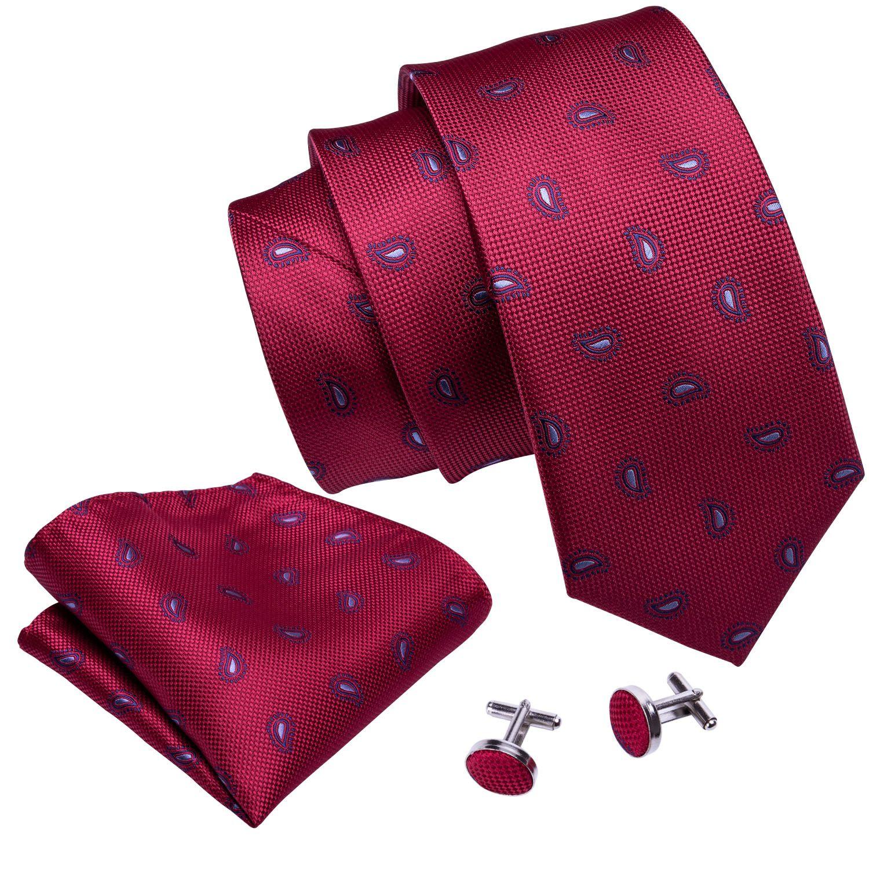 Черри красные Пейсли шелковых галстуков платком и манжет Галстук 8.5cm оптовой горячей бизнеса N-5027