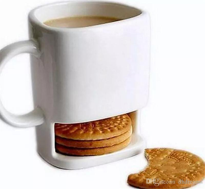 Bisküvi Tutucu ile Seramik Süt Bardaklar Dunk Çerezler Kahve Kupalar Depolama Tatlı Noel Hediyeleri için Seramik Çerez Kupa