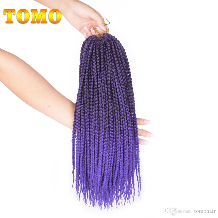 TOMO Crochet Box Braids Heat Resistant Synthetic Braiding Hair Extensions Ombre Purple 3X Box Braided Hair Weave 14/18/22inch 22strands/pack