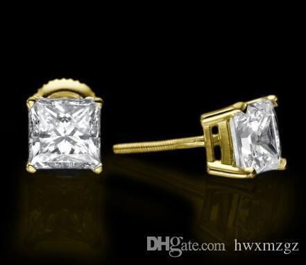 14KT Pendientes princesa de diamantes de talla princesa de oro amarillo mejorados 3.00 CT D / VS1