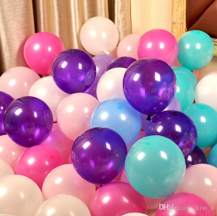 100pcs/Pack 10inch Balloons Purple White Blue Latex Balloon Air Balls Wedding Balon Party Decoration Happy Birthday Ballon 2.2g