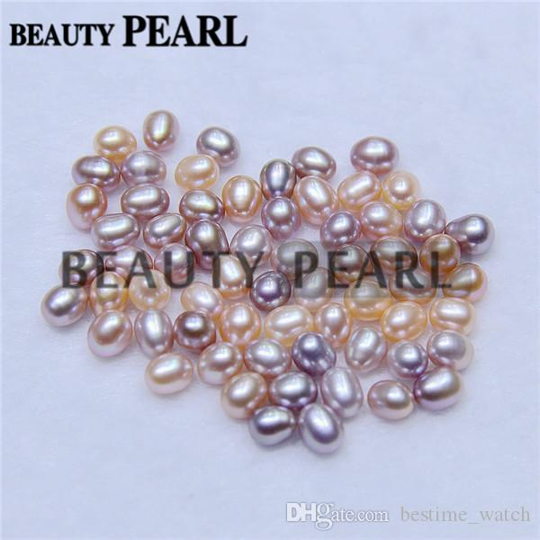 200 Pieces Rice Teardrop Shape Loose Freshwater Cultured Pearls 6*8mm One Hole Half Drilled Natural Pearl