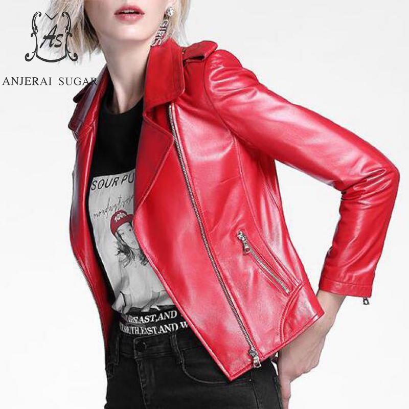 Женская кожаная искусственная осень женская овчина из подлинной куртки черный красный тонкий мотоцикл шорты на молнии настоящие Jaqueta Couro Feminina Coats