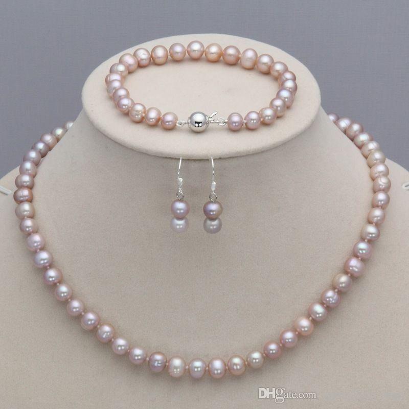 7-8 мм фиолетовый природных пресной воды культивированный жемчуг ожерелье 45-19 см браслет серьги комплект ювелирных изделий