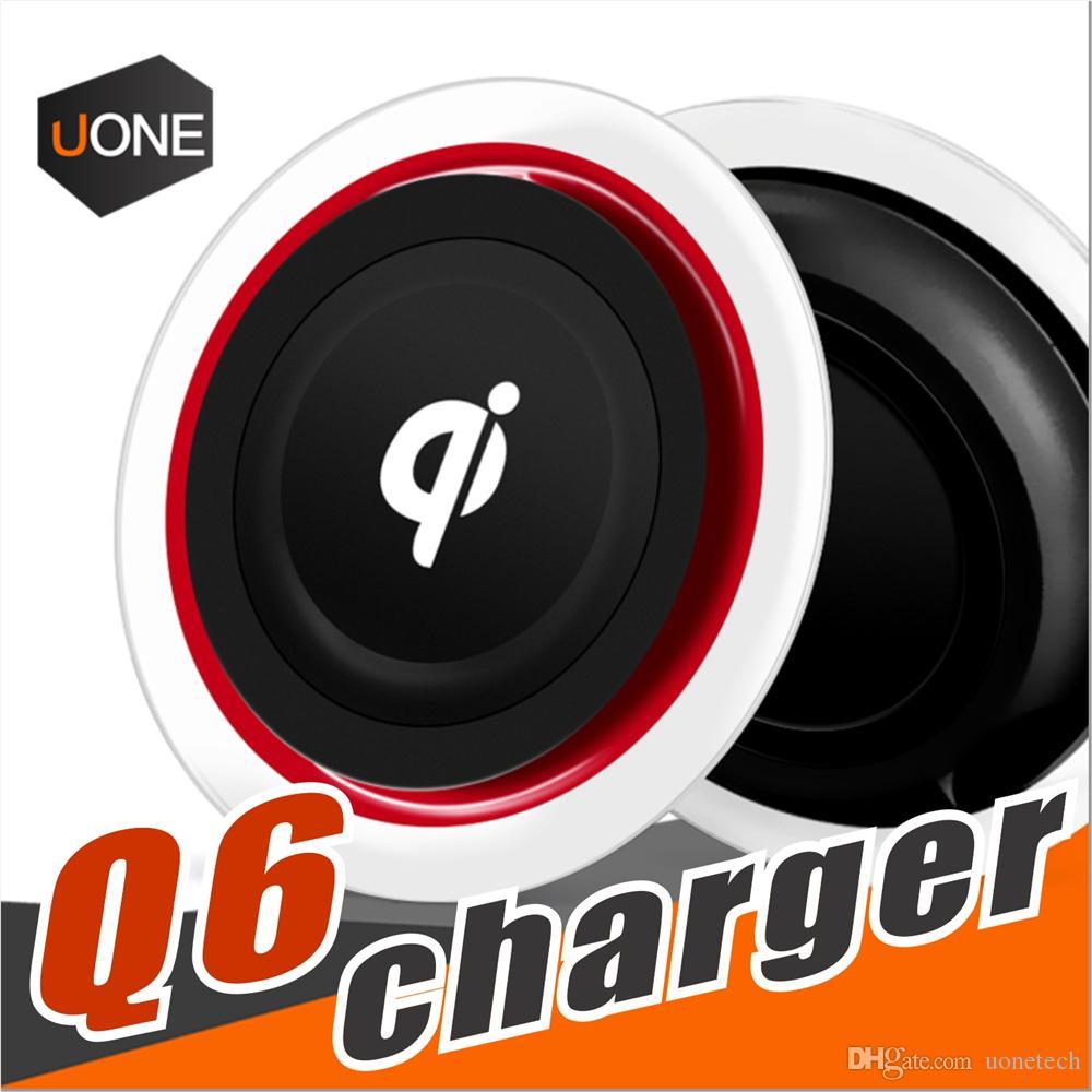 Q6 Kablosuz Şarj Şarj Pad Için Kristal Led ışık Iphone X 8 Artı Samsung Galaxy S8 artı LG Nokia Google Smartphone Paketi Ile