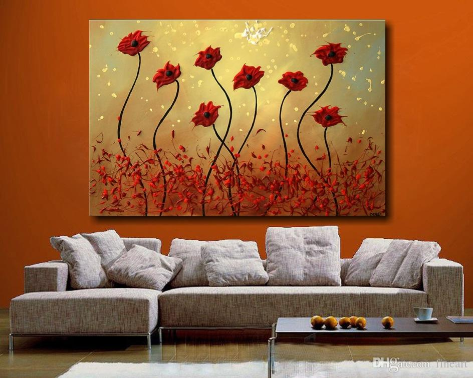 2019 Discount 100 Handmade Large Canvas Wall Art Abstract Flower Oil Painting On Canvas Living Room Decoration High Quality From Fineart 49 25
