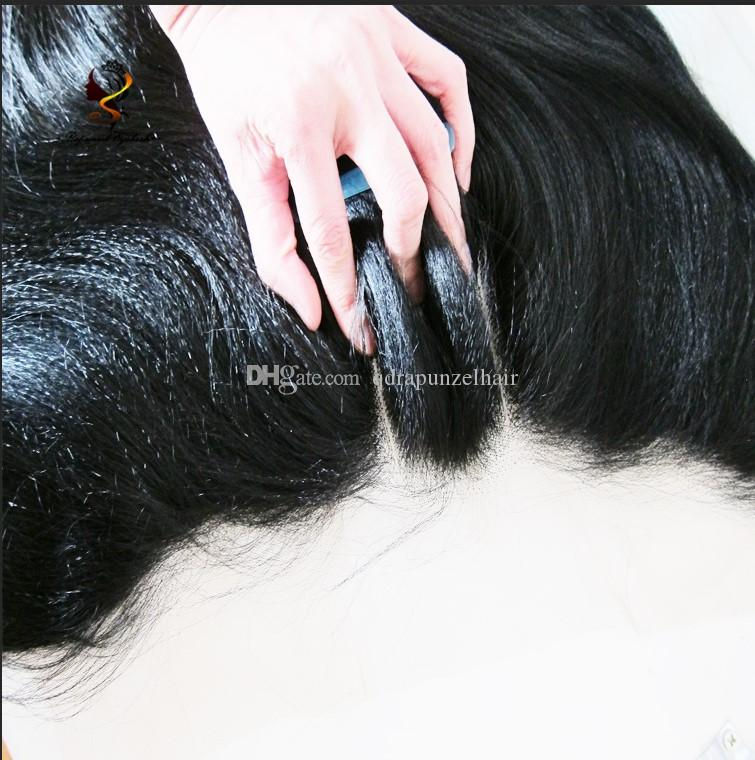Yaki13x4inch Pre plucked Lace Frontal Closure With Baby Hair Brazilian Remy Human Hair 3 Part Full Lace closure Bleached Knots