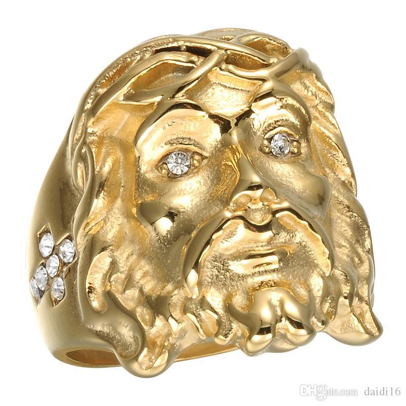 الأزياء التيتانيوم الصلب الذهب المسيح يسوع رئيس قطعة حلقة الهيب هوب بلينغ روك الحجم 8-12 للرجال النساء هدية مجوهرات امرأة خاتم الزواج