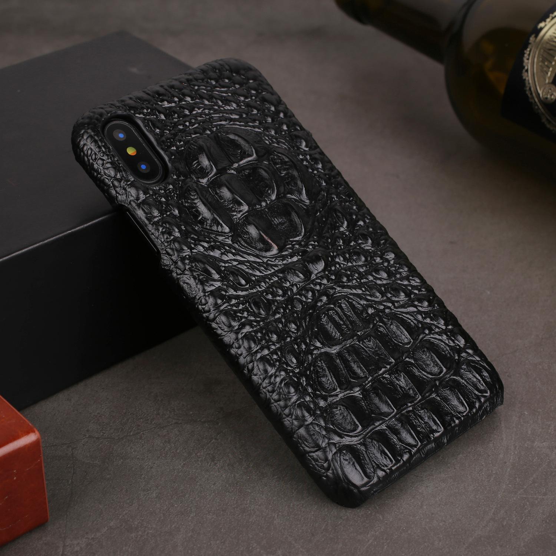 Pour Iphone Xs Max XR cas étuis en cuir véritable pour iPhone X XS 6S 8 7 plus couverture arrière de cas de luxe 3D Crocodile peau d'alligator