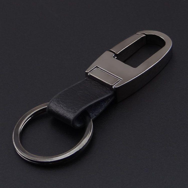 Usine vente de haute qualité Business Mens Metal KeyChain en métal noir et brun en cuir Keychain Custom Design Key Chain