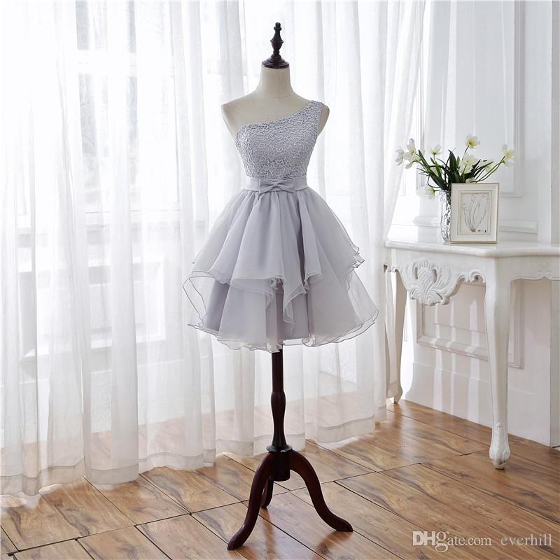 Gray One-Shoulder Lace Short Bridesmaid Dress Organza Bow Sash Tiers Knee Length Backless Juniors Adult Wedding Party Dresses 2018 Galajurk