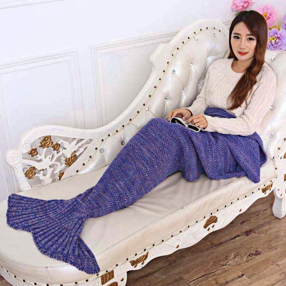 Wholesale- 7 Colors Yarn Knitted Mermaid Tail Blanket Super Soft Sleeping Bed Handmade Crochet Anti-Pilling Portable Blanket
