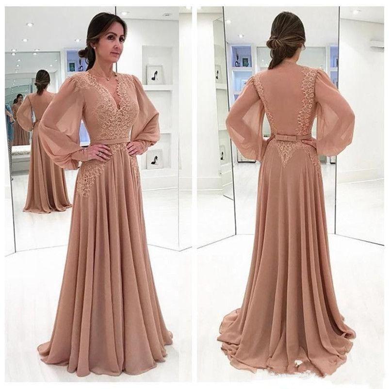 Wunderschöne Chiffon A-Linie Abendkleider V-Ausschnitt Applique Spitze Long Sleeves Abendkleid Formale Abend Party Kleider