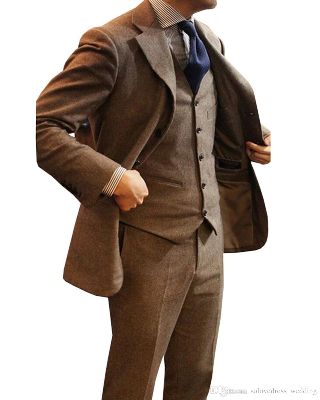 3 sztuki Najnowsze Płaszcze Designs Brown Tweed Men Suit Slim Fit Tuxedo Custom Groom Prom Blazer Mens Garnitury Masculino