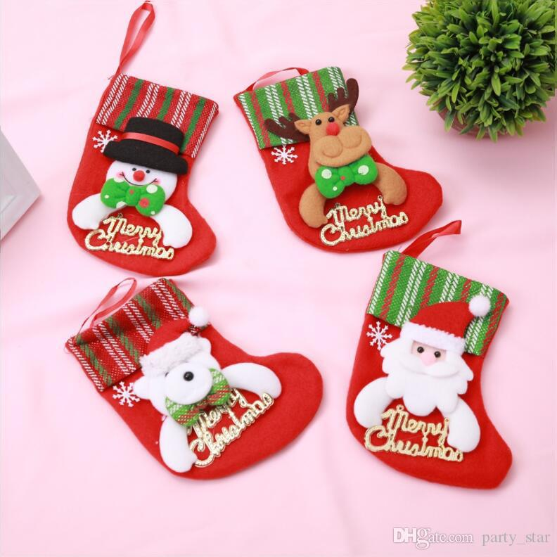 Merry Christmas Letters Christmas Socks Home Hotel Christmas Stockings Decoration Tableware Fork Knife Bag Props Mix Order