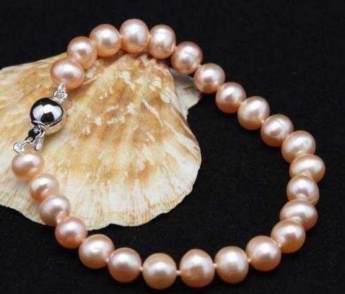 """Bracciale con perle coltivate Akoya rosa 8-9mm moda naturale 7.5 """""""