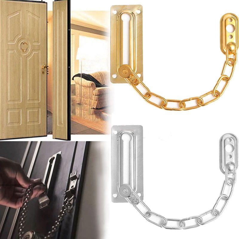 Chrome Chain Door Safety Guard Latch Seguridad Peep Bolt Locks Gabinete cerraduras DIY Home Tools