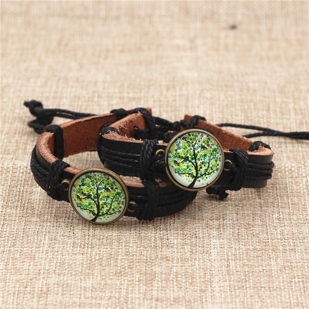 DGW Temps Gemmes Vert Arbre De Vie Vintage réglable en cuir bracelet de mode Bijoux pour hommes Emballage-cadeau Bracelets