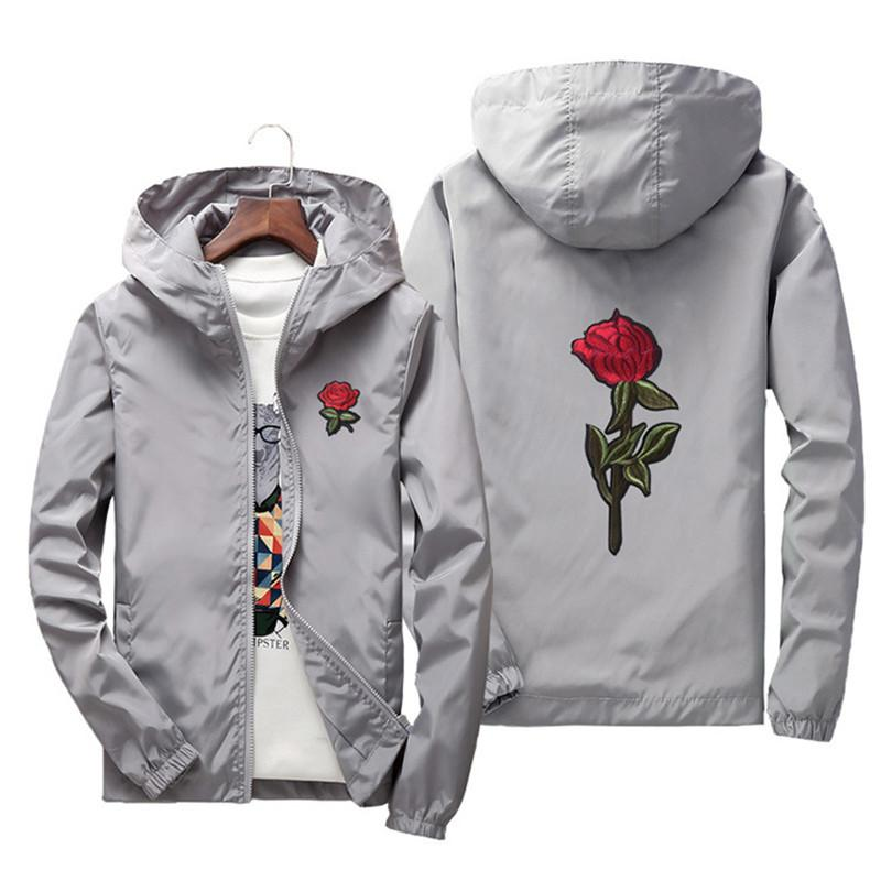 Erkek Moda Fermuar ile Poluester Çiçek Ince Ceket Tops Mens Rahat Düz Renk Rüzgarlık Erkek Marka Giyim Artı Boyutu S-7XL