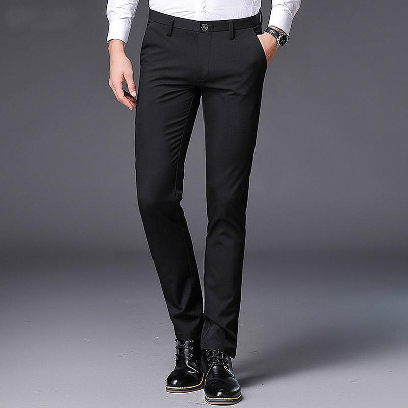 Pantalones de vestir de los hombres de gama alta slim fit moda primavera verano casual hombres weeding traje de oficina pantalones de negocios para hombre pantalones más el tamaño 38