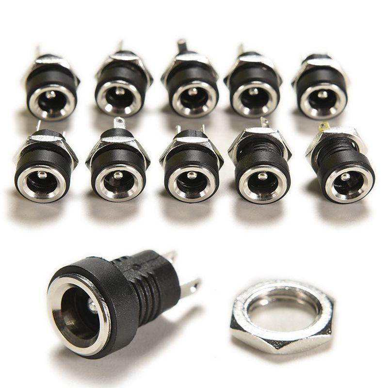 DC Güç Kaynağı Jack Soket Kadın Paneli Dağı Bağlayıcı 5.5mm Plug adaptör 100Pcs 3A 12v 2 Kutup 3,5 * 1,3 5,5 * 2,1 5,5 * 2,5