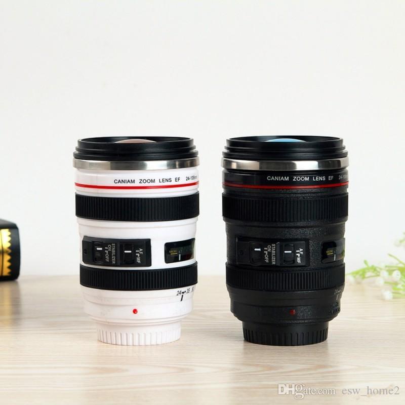 400ml Durable Edelstahl Isolierflaschen Reise Kaffeetasse Tasse Wasser Kaffee Tee Kamera Objektiv Tasse Mit Deckel 2 Farben Kamera Tassen