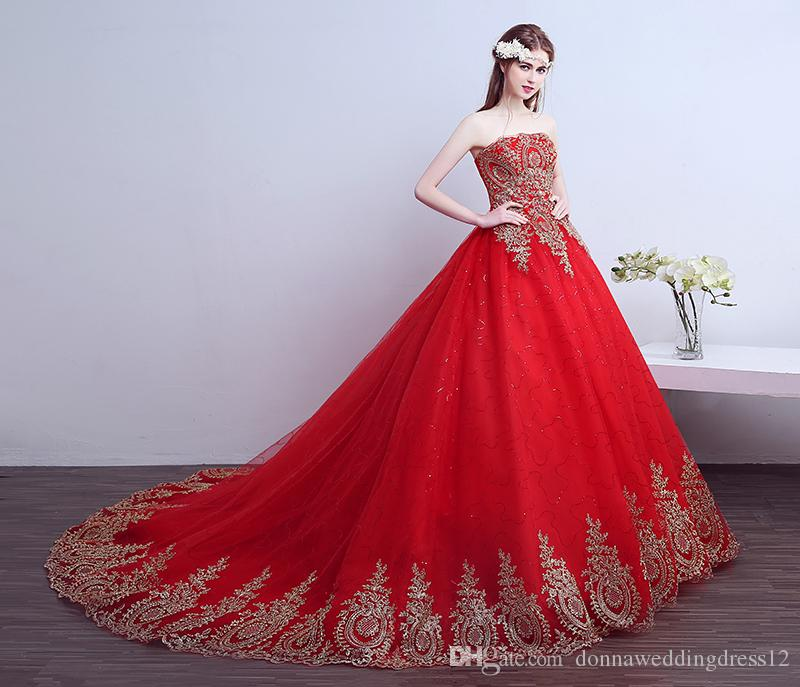 Robe De Mariage 2018 New Ball Gown Lace Tulle Red Wedding Dress With Tail Chinese Pattern Style Cheap China Embroidery Princess Bridal Gown Chiffon Dresses Elegant Dresses From Donnaweddingdress12 101 51 Dhgate Com