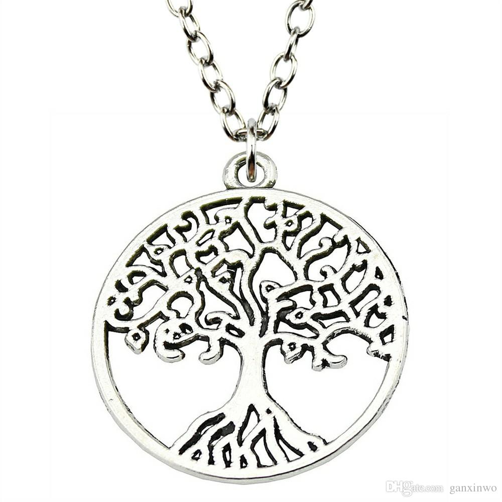 WYSIWYG 5 Pieces Metal Chain Necklaces Pendants Vintage Necklace Handmade Tree Of Life 25x25mm N2-B11082
