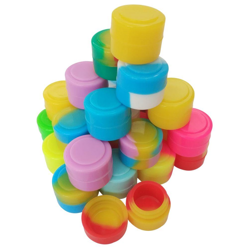 LAGER in Los Angeles USA SCHNELLES VERSCHIFFEN! 50 teile / los 2 ml mini sortierte farbe silikonbehälter für Tupfer Runde Form Silikon Container wachs