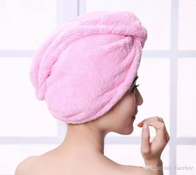 Serviette de toilette sèche rapide magique absorbant bain bonnet de bain cheveux séchage queue de cheval titulaire bouchon dame corail ouatine cheveux capuche serviette