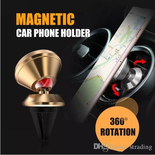 NOUVEAU Porte-téléphone de téléphone magnétique rotatif à 360 degrés Alliage d'aluminium Air Air Ventilateur Air Montage de voiture Porte-téléphone pour smartphones pour iPhone Android