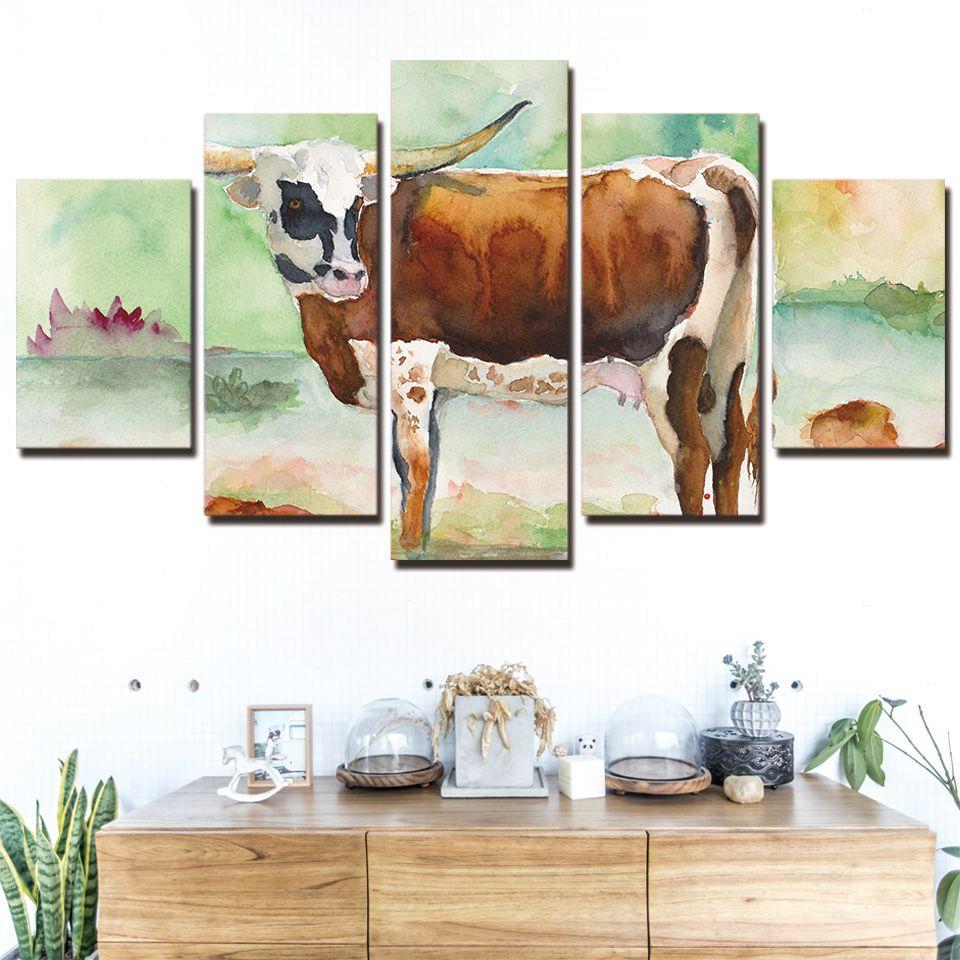 5 panel canvas art print HD Spring Milk Cow modern Modular large canvas wall art 2018 dropshipping