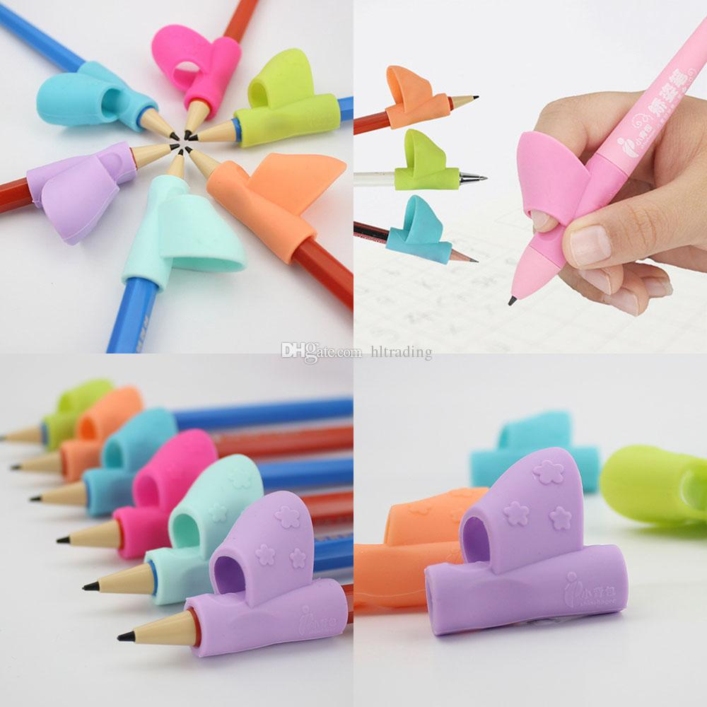 3 قطع مجموعة ماجيك الأطفال سيليكون قلم رصاص حامل القلم أداة الكتابة المعونة قبضة الموقف تصحيح أداة طالب هدية اللعب C5573