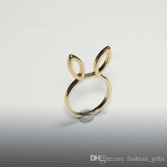 N pcs Cute Bunny Ear Charm Ring Simple Cat small rabbit Animal Ring Lady Pet Ring for Little Princess Wedding Lucky Happy Jewelry