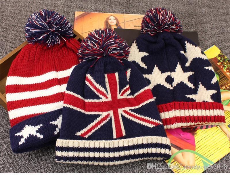 A buon mercato americano USA Bandiere Berretti invernali di lana da uomo e da donna maglia cappelli e cappelli Skullies Cool aziende all'ingrosso TO343