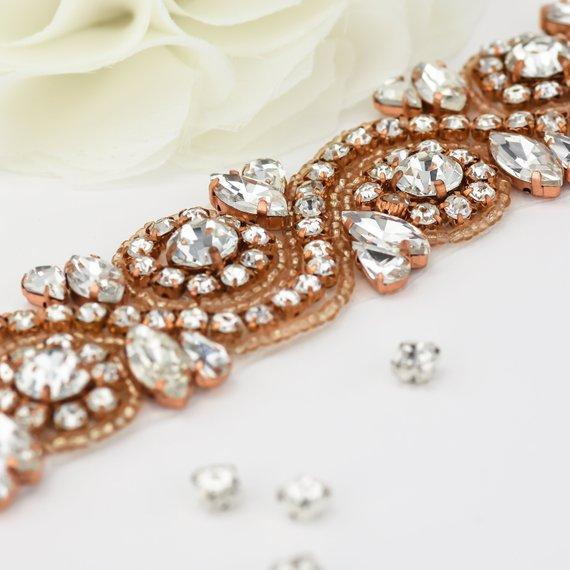 ZH001 Bridal Dress Belt Sashes Gold sparkle Crystal Beads Rhinestones Wedding Sashes Belt For Wedding evening Dresses sash