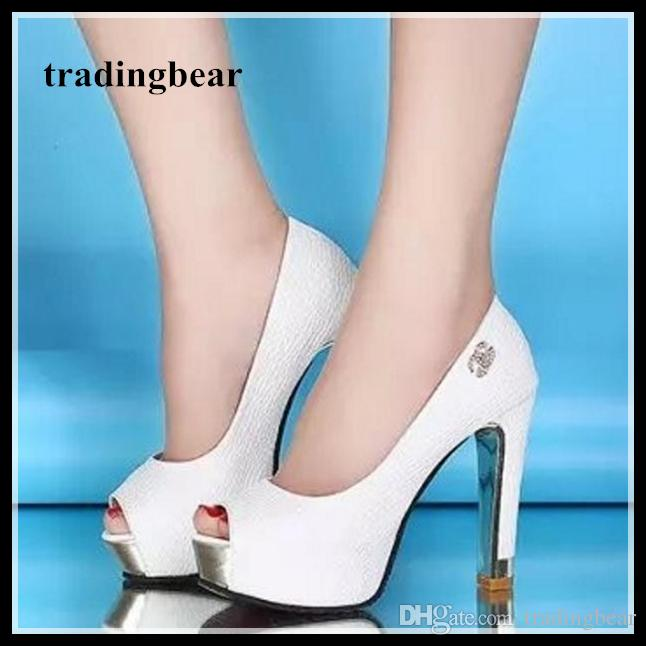 White wedding shoes glitter sequins bridal shoes peep toe thick high heel pumps 2 colors Size 34 to 39
