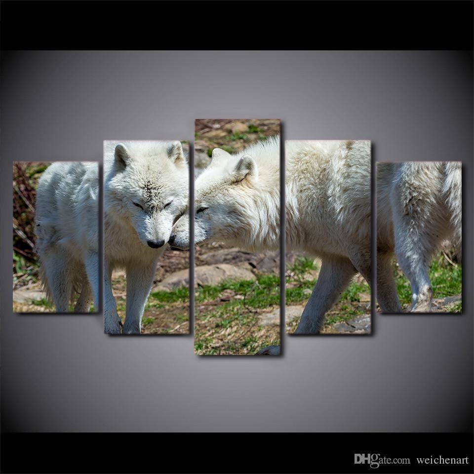 HD Impresso 5 Pieces Canvas Art Pintura White Wolf Casal Poster Recados Pictures para sala Home Decor grátis
