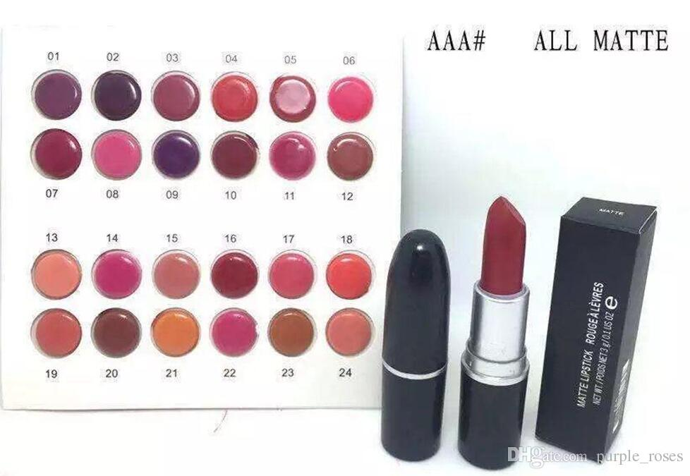 Nouvelle marque Maquillage Arrivées maquillage rouge à lèvres mat brillant 3g avec nom 24 couleurs différentes (24 Pièces / Lot) LIVRAISON GRATUITE
